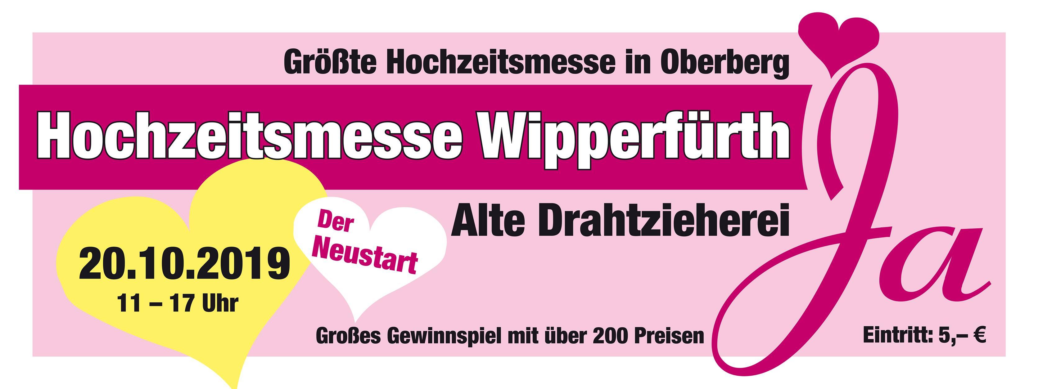 Die Hochzeitsmesse Wipperfürth findet am 20.10.2019 in der Alten Drahtzieherei statt.
